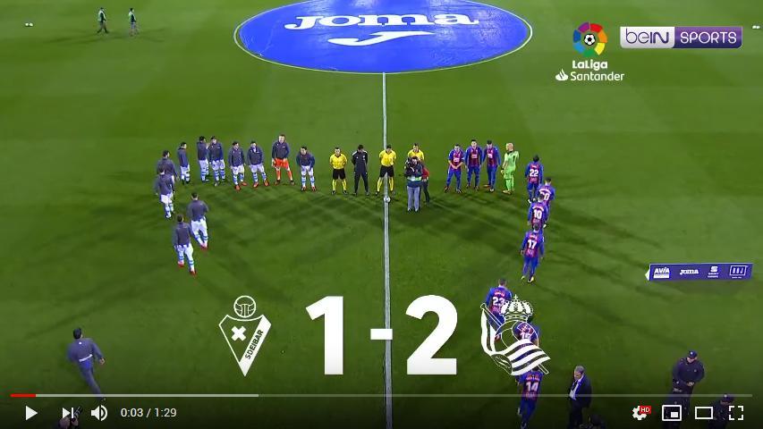 คลิปไฮไลท์ฟุตบอลลาลีกา สเปน เออิบาร์ 1 - 2 เรอัล โซเซียดาด
