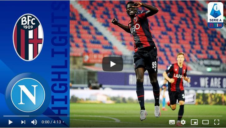 คลิปไฮไลท์ฟุตบอลกัลโช่ เซเรีย อา อิตาลี โบโลญญ่า 1 - 1 นาโปลี