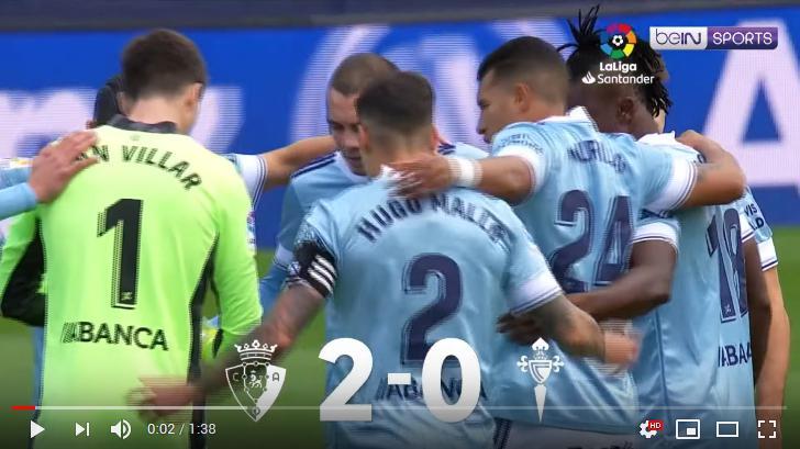 คลิปไฮไลท์ฟุตบอลลาลีกา สเปน โอซาซูน่า 2 - 0 เซลต้า บีโก้