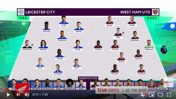 คลิปไฮไลท์ฟุตบอลพรีเมียร์ลีก อังกฤษ เลสเตอร์ ซิตี้ 0 - 3 เวสต์แฮมยูไนเต็ด